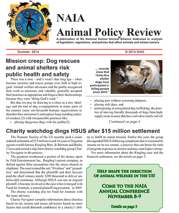 Animal Policy Review Summer 2014