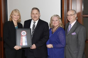 From Left: AKC Gov't Relations Director Sheila Goffe, Dr. Arnold Goldman, CT Federation's Laurie Maulucci, AKC President/CEO Dennis B. Sprung